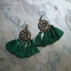 Jewelry - 🥀Hunter Green Boho Tassel Earrings